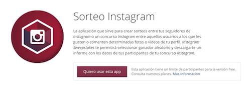 Aplicaciones Sorteos en Instagram