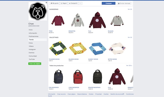tienda Facebook we are chaw